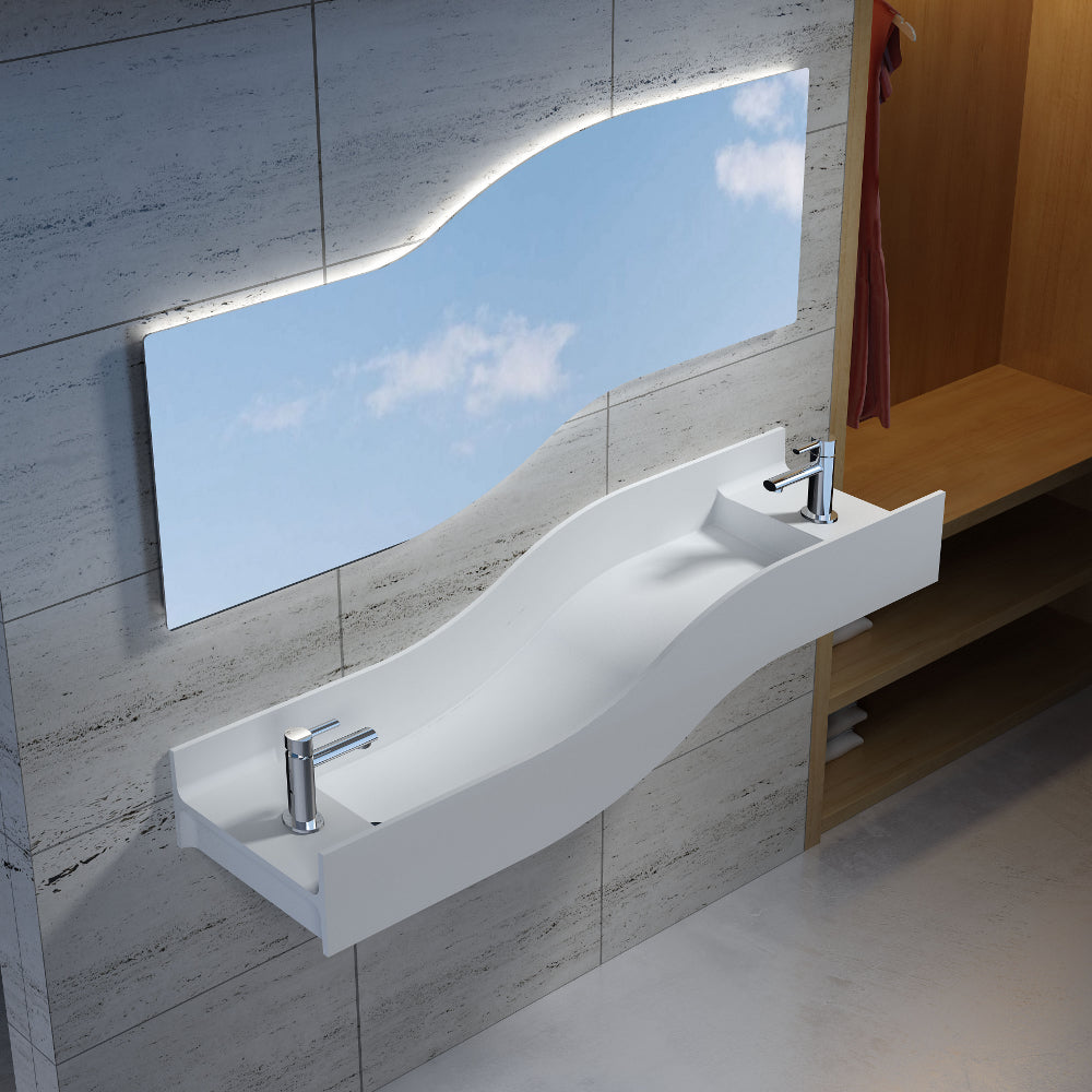 "55""POLYSTONE LEFT WAVE WALL MOUNTED SINK IN MATTE WHITE FINISH-NO FAUCET"
