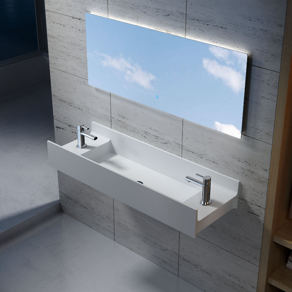 "47""POLYSTONE RECTANGULAR WALL MOUNTED SINK ONLY IN MATTE WHITE FINISH-NO FAUCET"