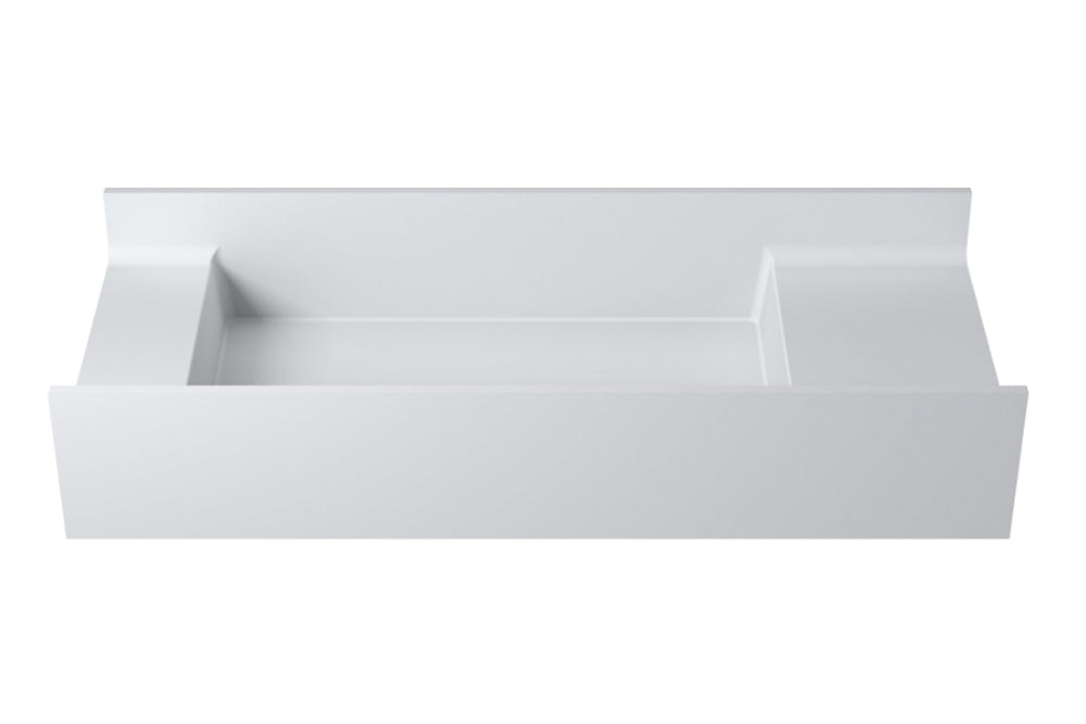 "39""POLYSTONE RECTANGULAR WALL MOUNTED SINK ONLY IN GLOSSY WHITE FINISH-NO FAUCET"