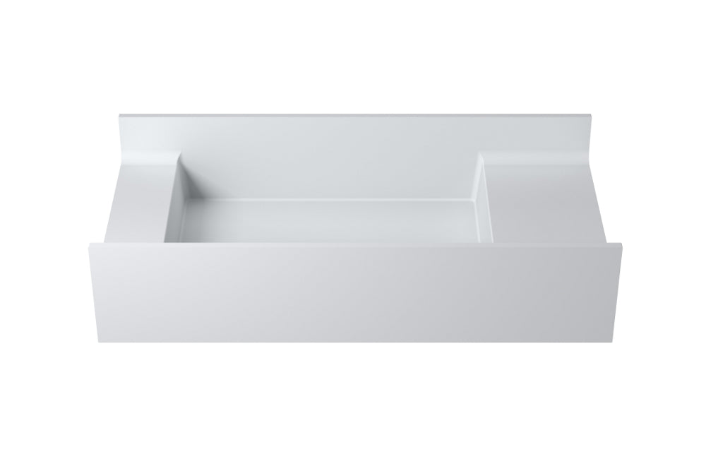 "31""POLYSTONE RECTANGULAR WALL MOUNTED SINK ONLY IN MATTE WHITE FINISH-NO FAUCET"