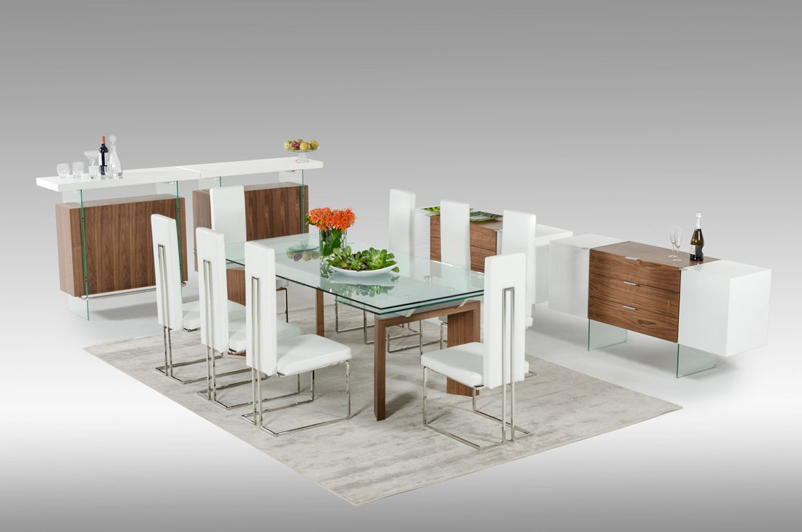 Modrest Sven Contemporary White & Walnut Floating Buffet