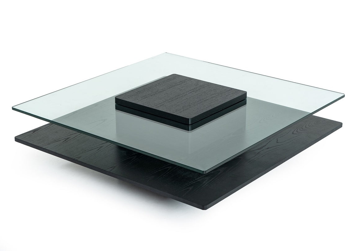 Modrest Emulsion - Modern Black Oak Glass Coffee Table
