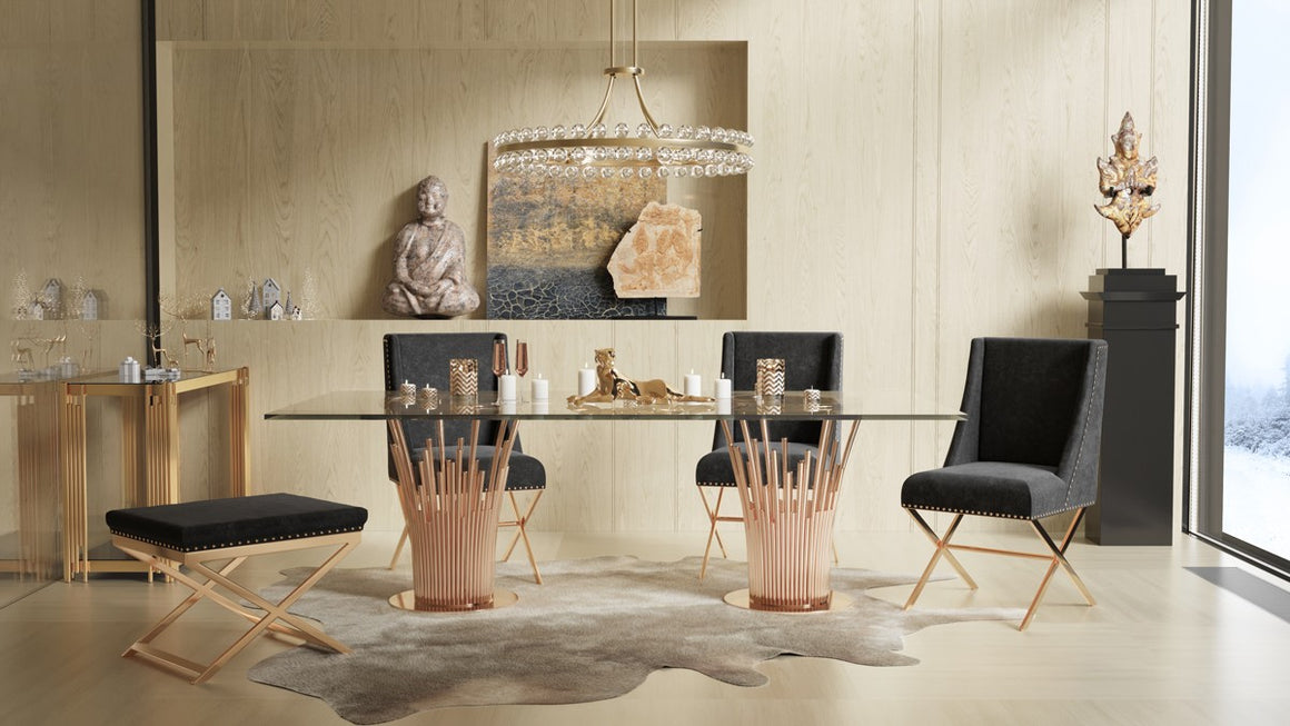 Modrest Paxton Modern Glass & Rosegold Dining Table