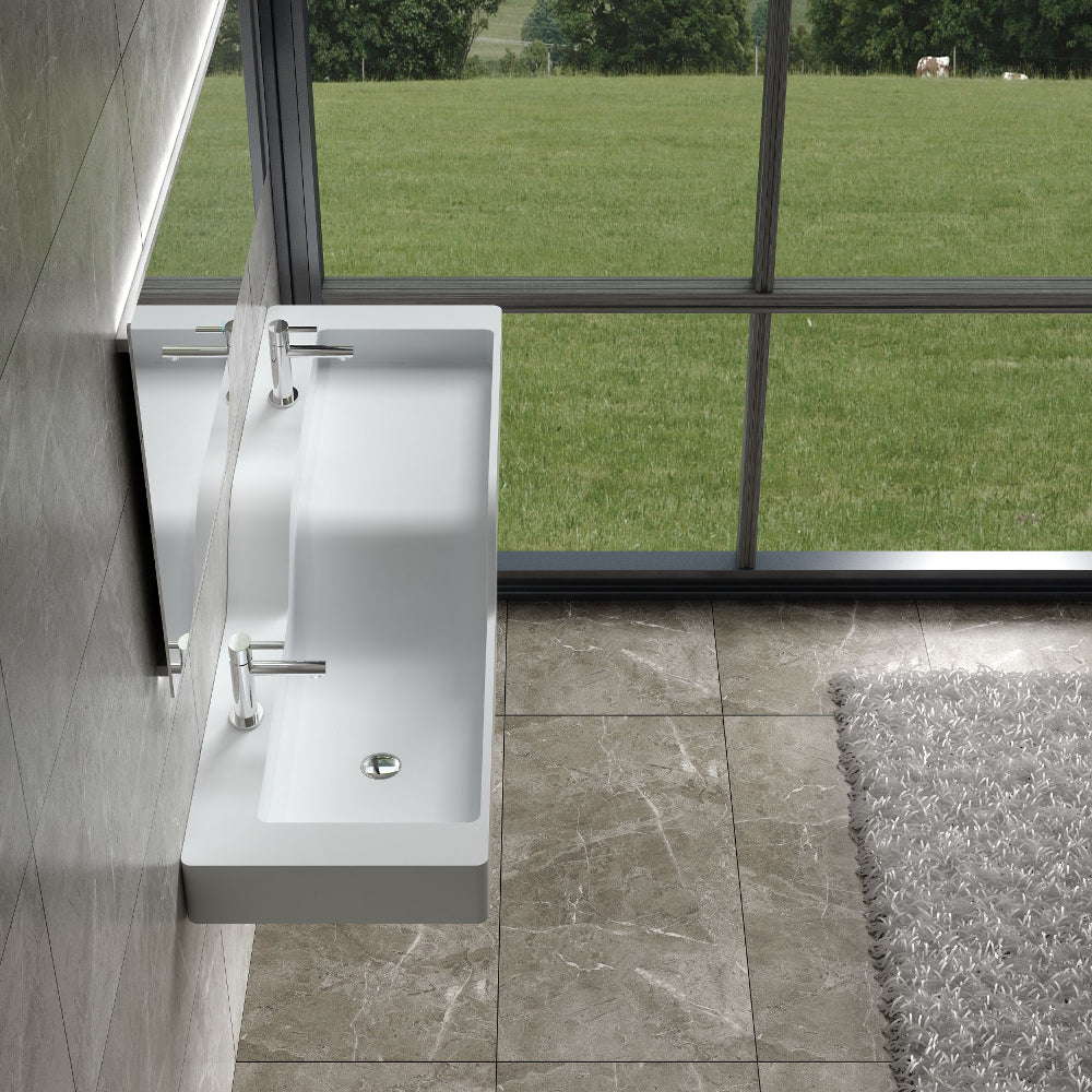 "59""POLYSTONE HIS & HERS WALL MOUNTED SINK ONLY IN GLOSSY WHITE FINISH-NO FAUCET"
