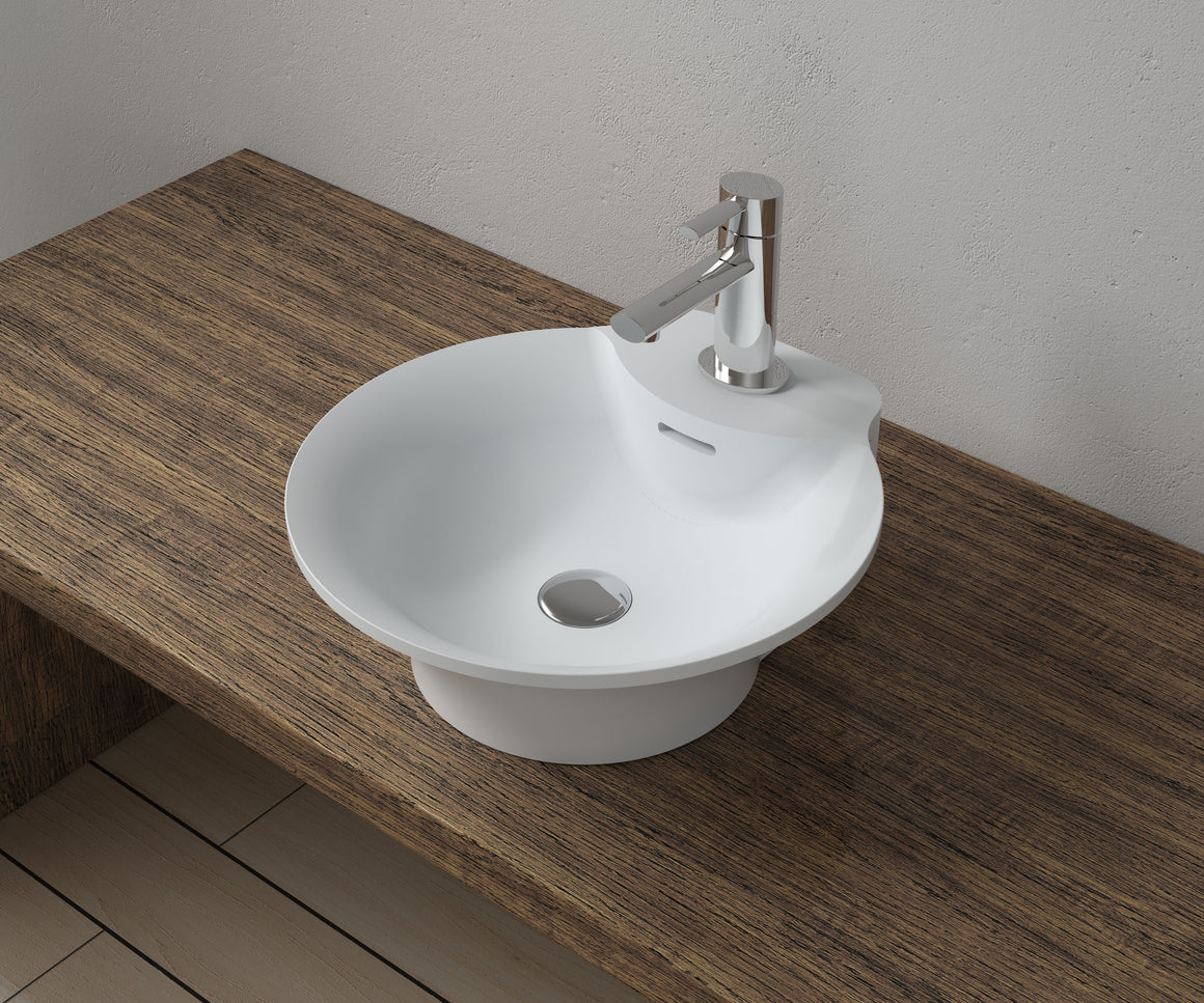 "16""x17""POLYSTONE ROUND VESSEL BATHROOM SINK WITH OVERFLOW IN GLOSSY WHITE FINISH-NO FAUCET"