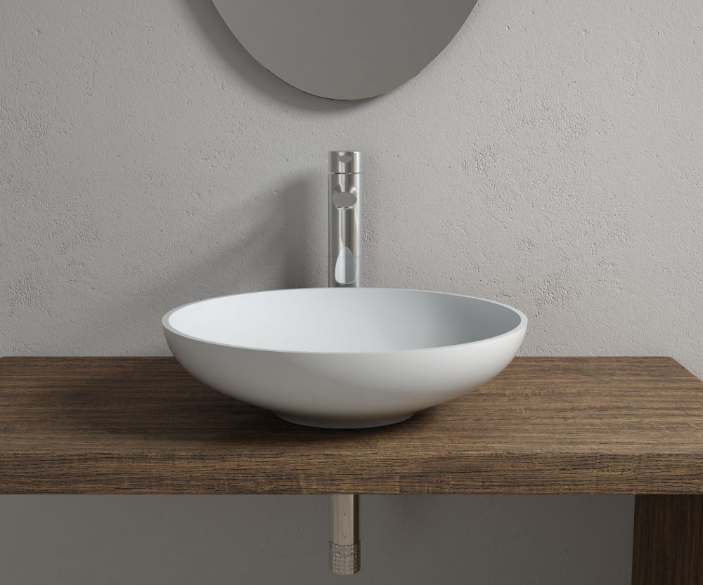 "16""x16""POLYSTONE ROUND VESSEL BATHROOM SINK IN MATTE WHITE FINISH-NO FAUCET"