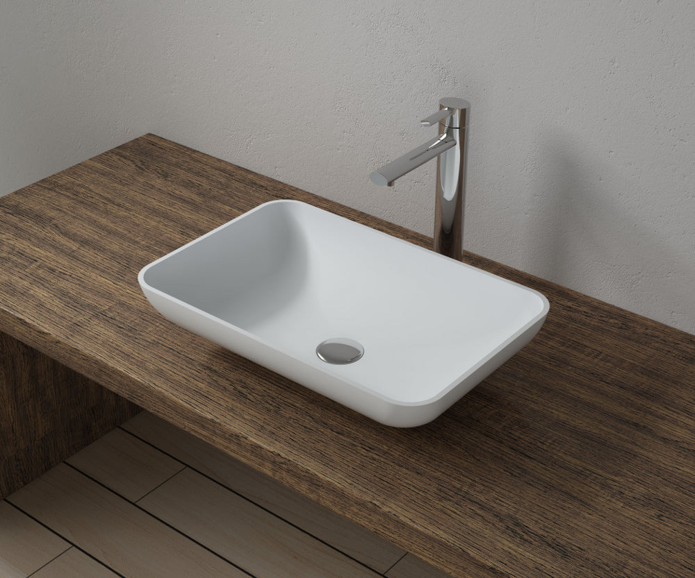"20""x13""POLYSTONE RECTANGULAR VESSEL BATHROOM SINK IN MATTE WHITE FINISH-NO FAUCET"