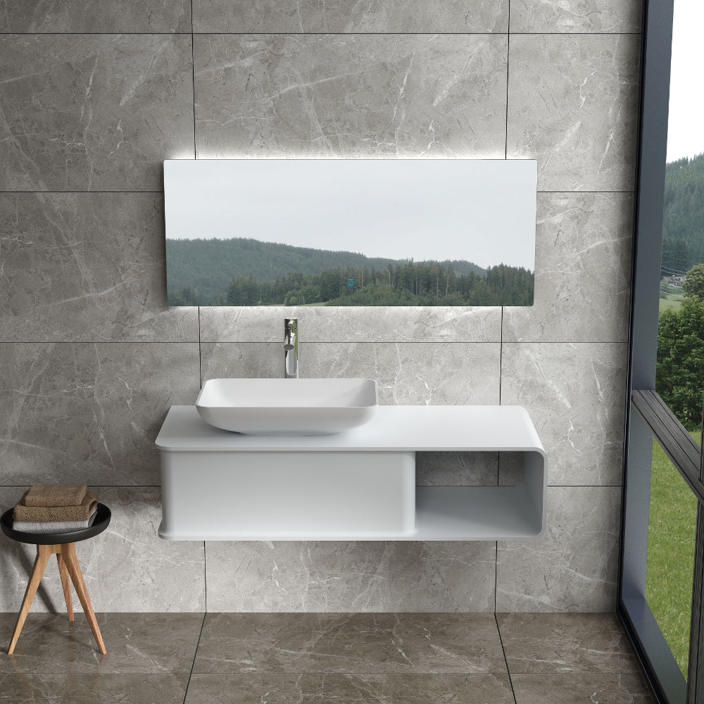 "47""POLYSTONE WALL MOUNTED VANITY ONLY IN MATTE WHITE FINISH-NO SINK"