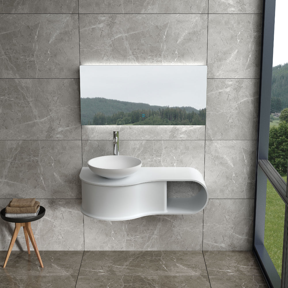 "39""POLYSTONE WALL MOUNTED VANITY ONLY IN MATTE WHITE FINISH-NO SINK"