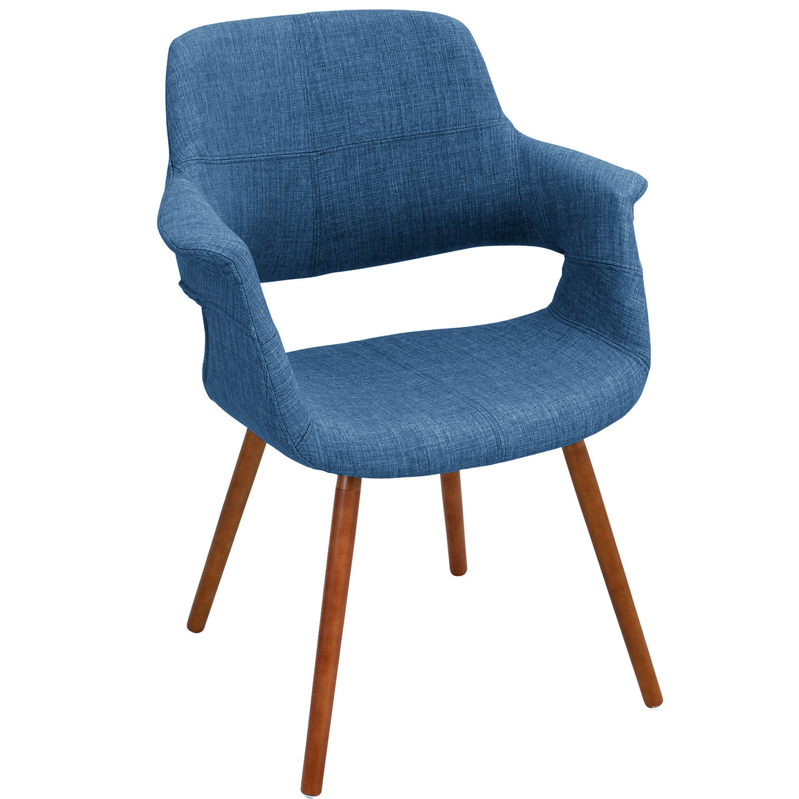 Vintage Flair Mid-Century Modern Chair in Walnut and Blue by LumiSource