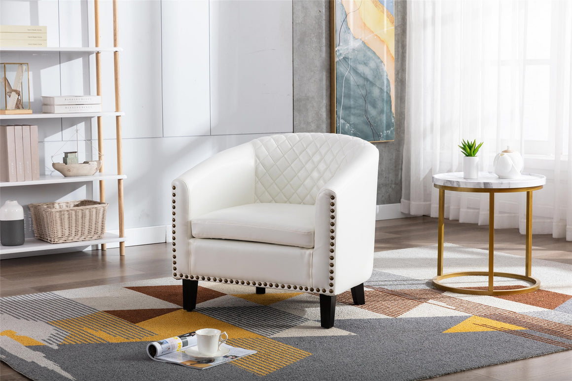 Fablise Accent Barrel Armchair with Nailheads in White Faux Leather