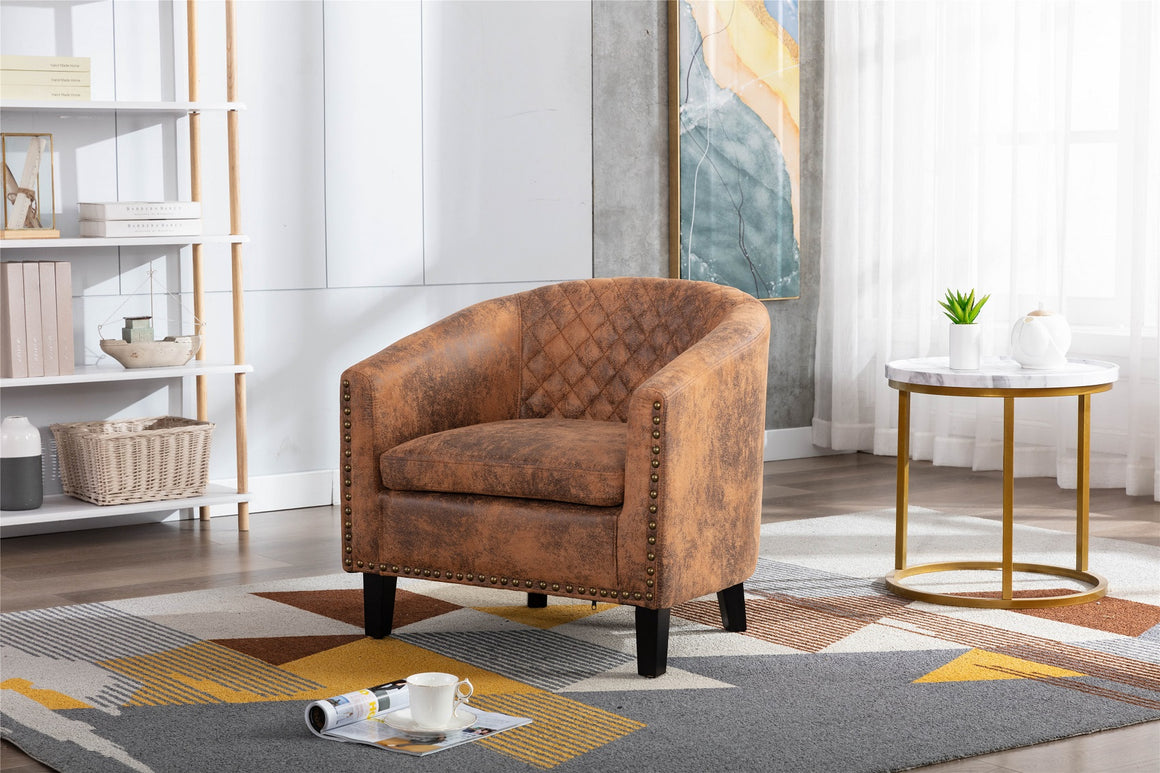 Fablise Accent Barrel Armchair with Nailheads in Light Coffee