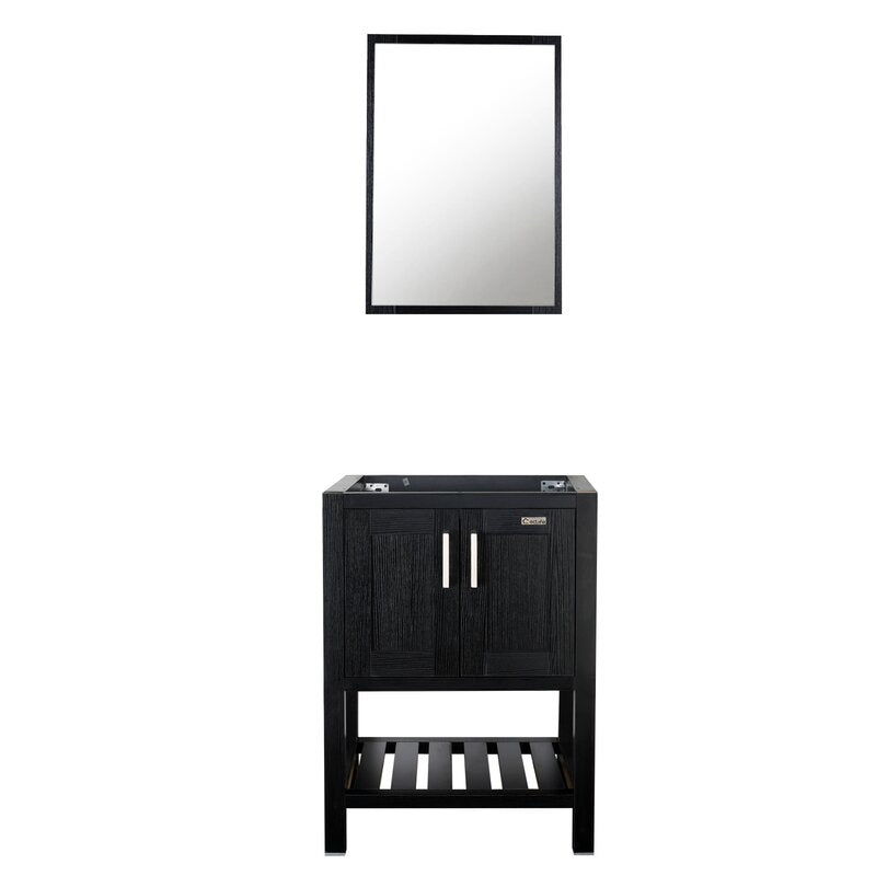 24 inch Free-Standing Black Bathroom Vanity with 2 Doors and Open Shelf Styling