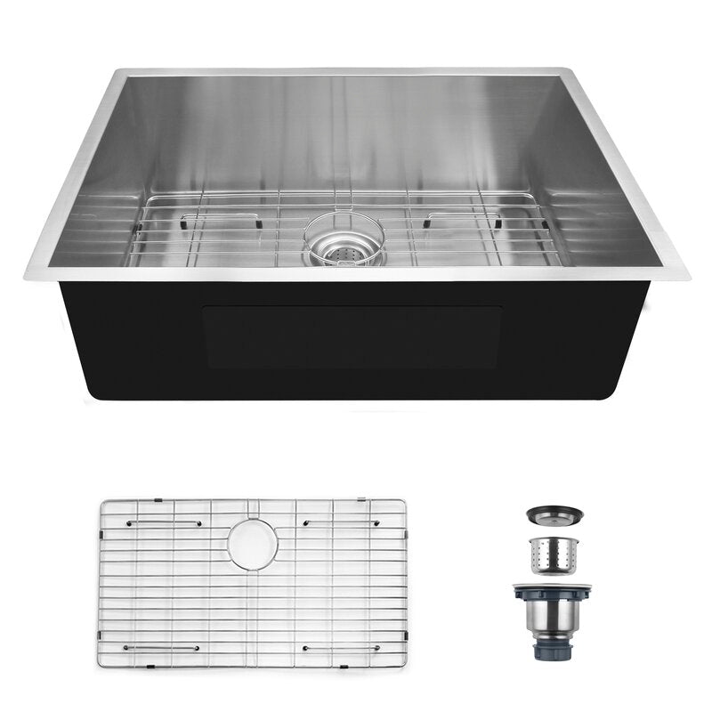 Fablise Premium Stainless Steel Single Bowl Undermount 23'' x 18'' x 9'' Handmade Kitchen Sink with Accessories