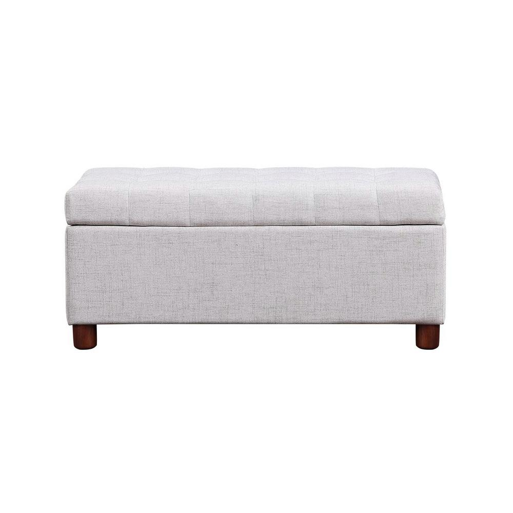 Fablise 39'' Storage Bench Tufted Linen Fabric Ottoman in Linen