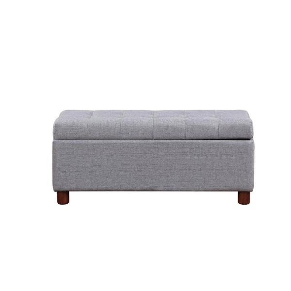 Fablise 39'' Storage Bench Tufted Linen Fabric Ottoman in Grey