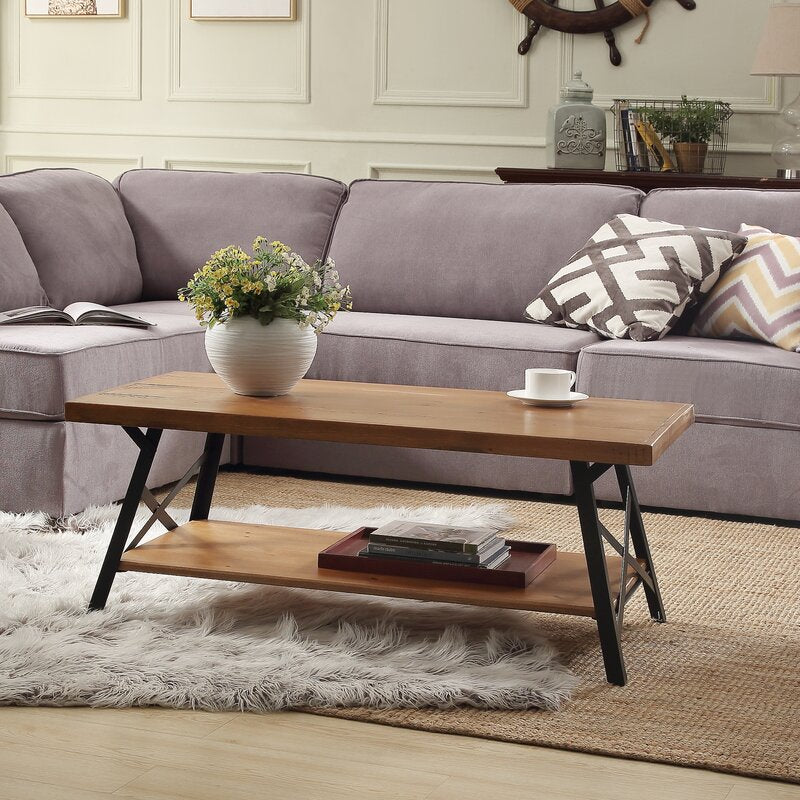 43 Fablise Rustic Coffee Table With Iron Legs And Solid Wood Tableto Housetie