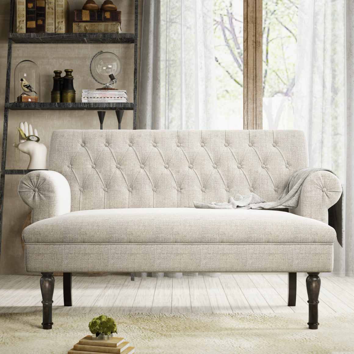"Chesterfield 58"" Rolled Arm Tufted Settee - Loveseat in Linen"