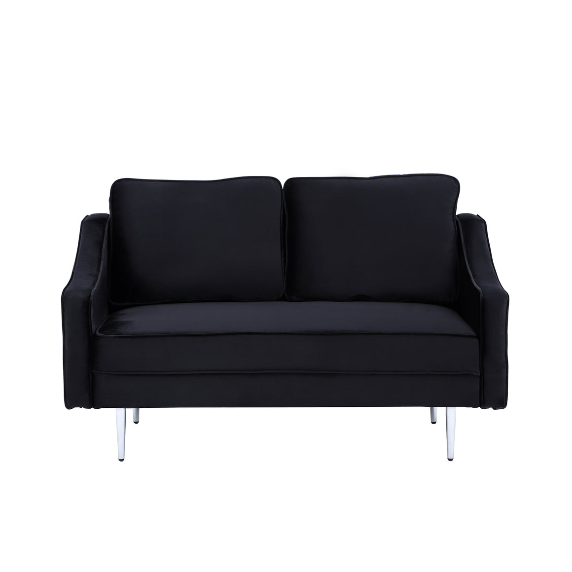 Fablise Accent Loveseat with Stylish Arched Arms in Black Velvet