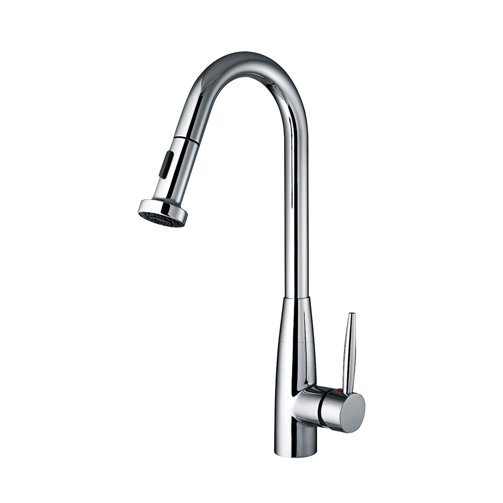 Jem Collection single hole faucet with a gooseneck swivel spout, pull-down spray head, and lever handle