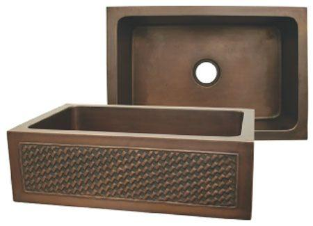 Copperhaus rectangular undermount sink with a Basket Weaving design front apron