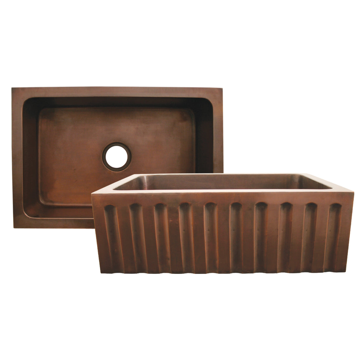 Copperhaus rectangular undermount sink with a fluted design front apron