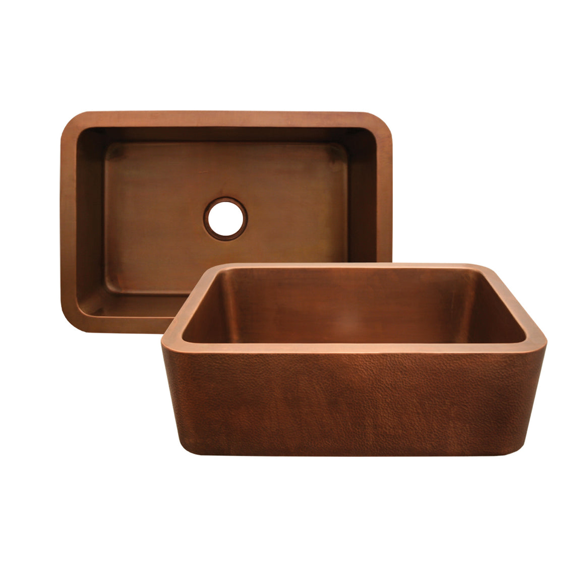 Copperhaus rectangular undermount sink with hammered front apron