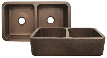 Copperhaus rectangular double bowl undermount sink with smooth front apron