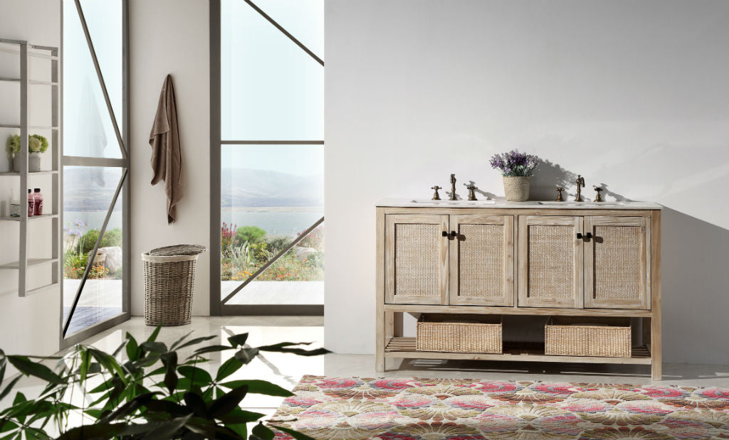 "60"" Rustic Rattan Dual Sink Bathroom Vanity in White Wash with Marble Top"