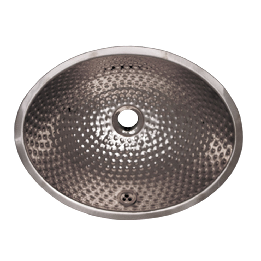 Oval Ball Pein Hammered textured undermount basin with overflow