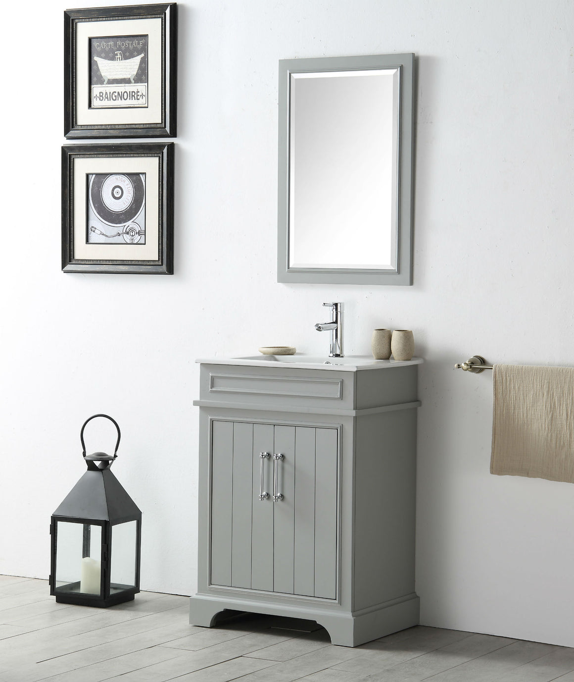 "24"" Sienna Single Sink Bathroom Vanity in Cool Gray with Ceramic Top"