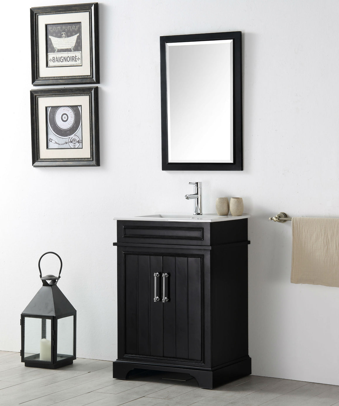 "24"" Sienna Single Sink Bathroom Vanity in Espresso with Ceramic Top"
