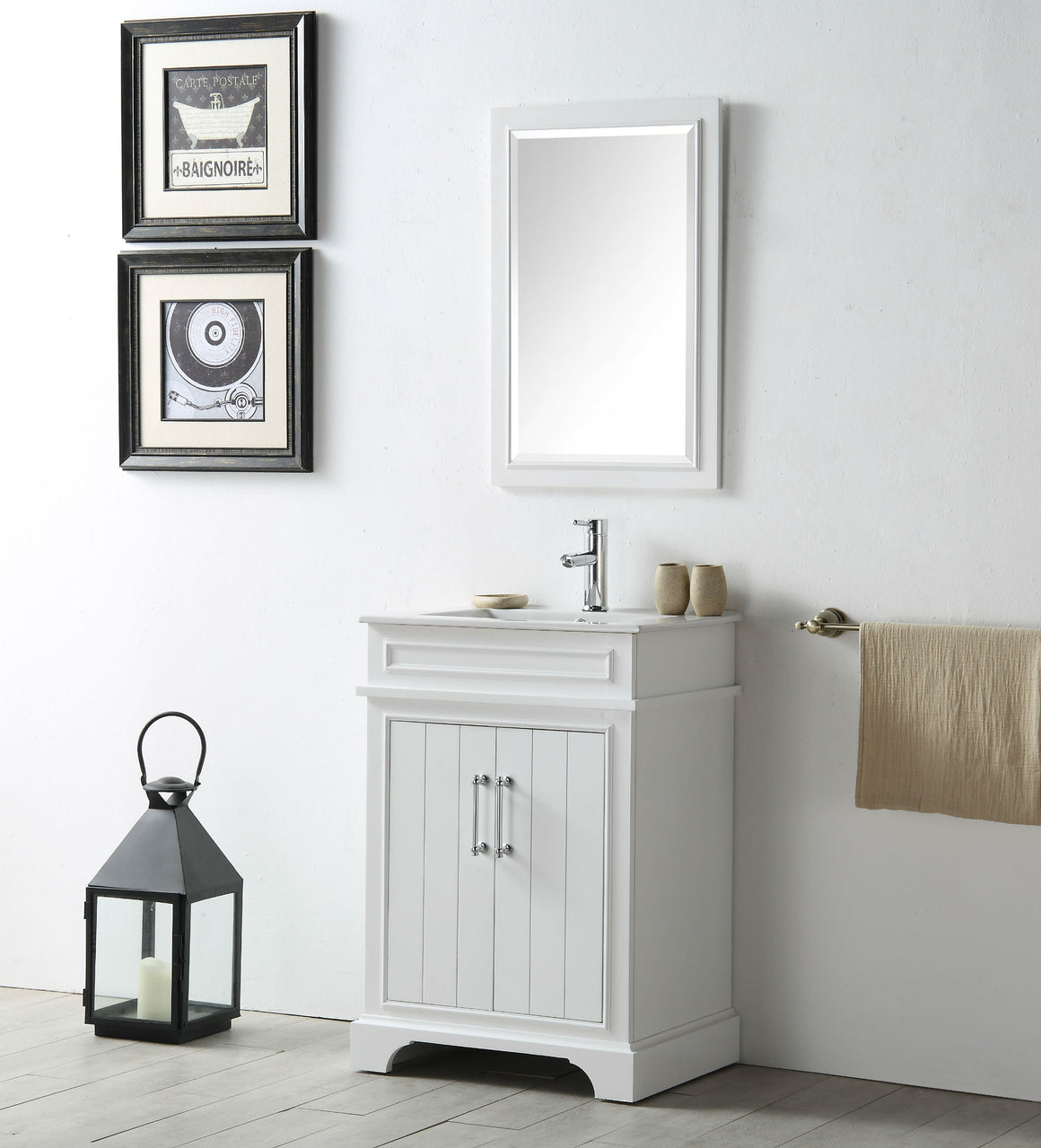 "24"" Sienna Single Sink Bathroom Vanity in White with Ceramic Top"