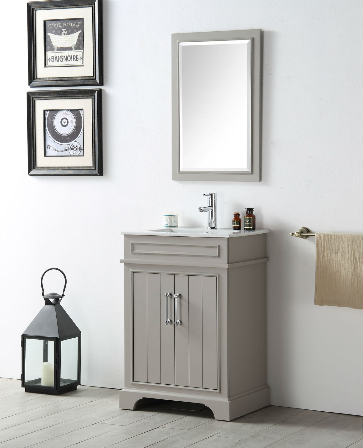 "24"" Sienna Single Sink Bathroom Vanity in Warm Gray with Ceramic Top"
