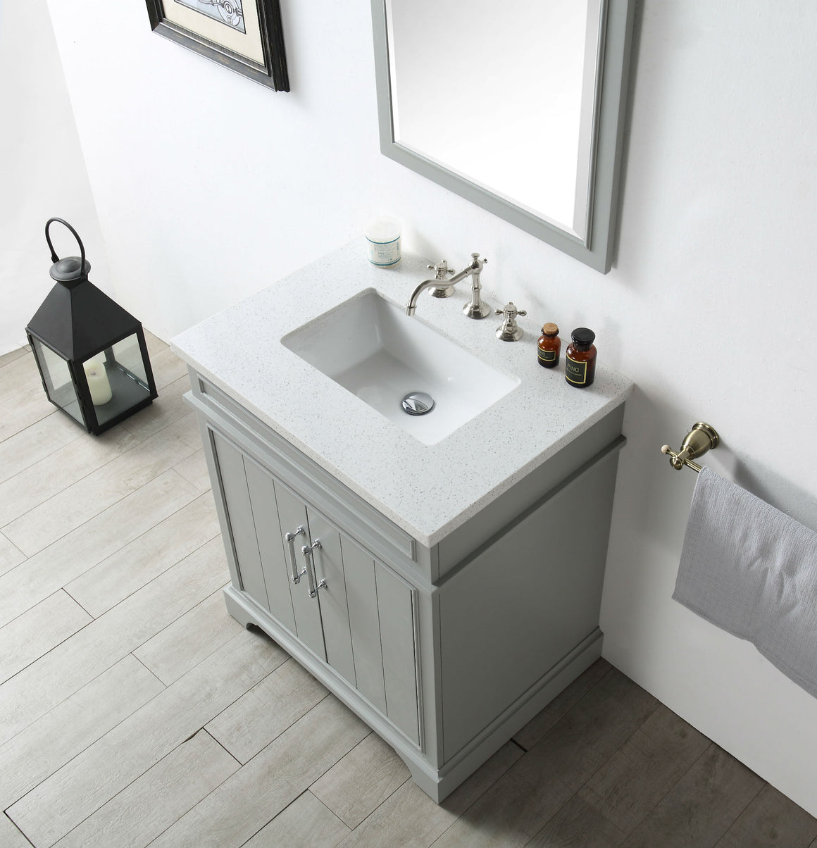 "30"" Sienna Single Sink Bathroom Vanity in Cool Gray with Snow White Quartz Top"
