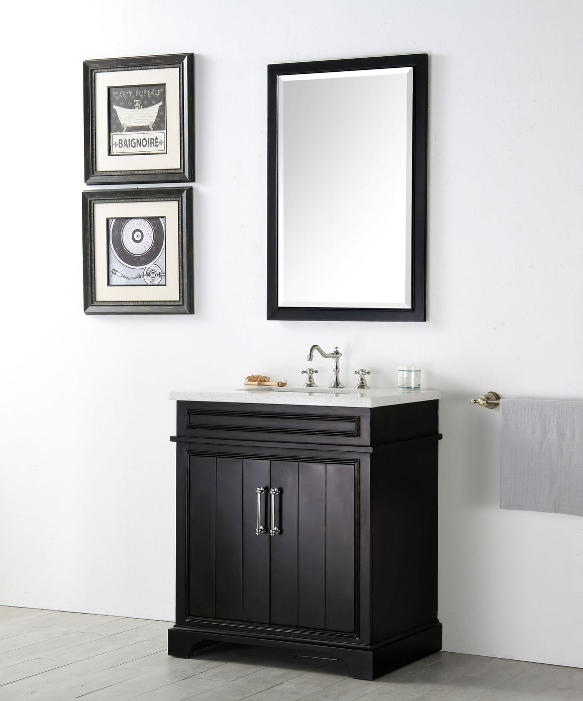 "30"" Sienna Single Sink Bathroom Vanity in Espresso with Snow White Quartz Top"