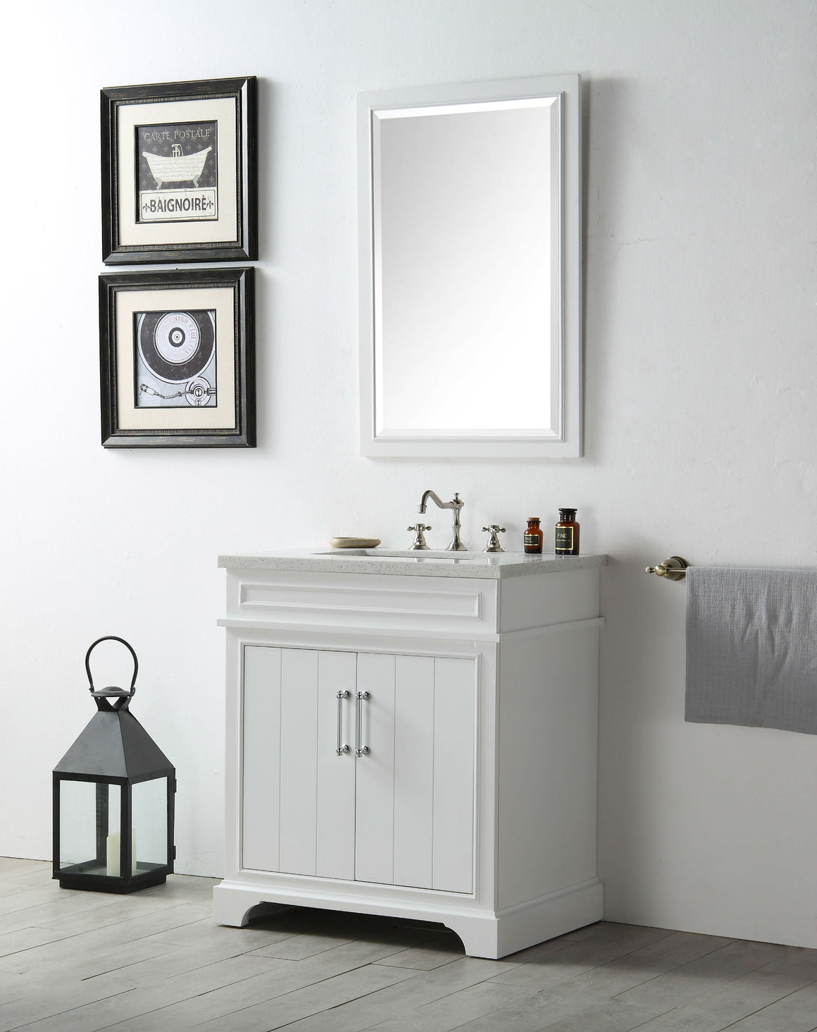 "30"" Sienna Single Sink Bathroom Vanity in White with Snow White Quartz Top"