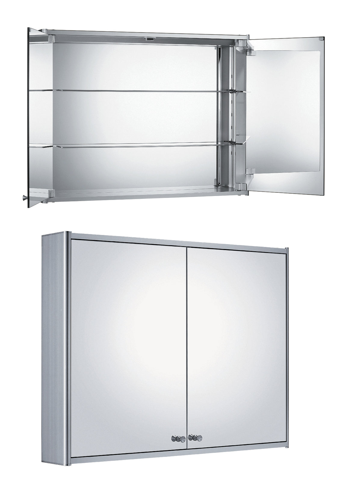Double two sided mirrored door medicine cabinet with two adjustable glass shelves and mirror faced back wall.