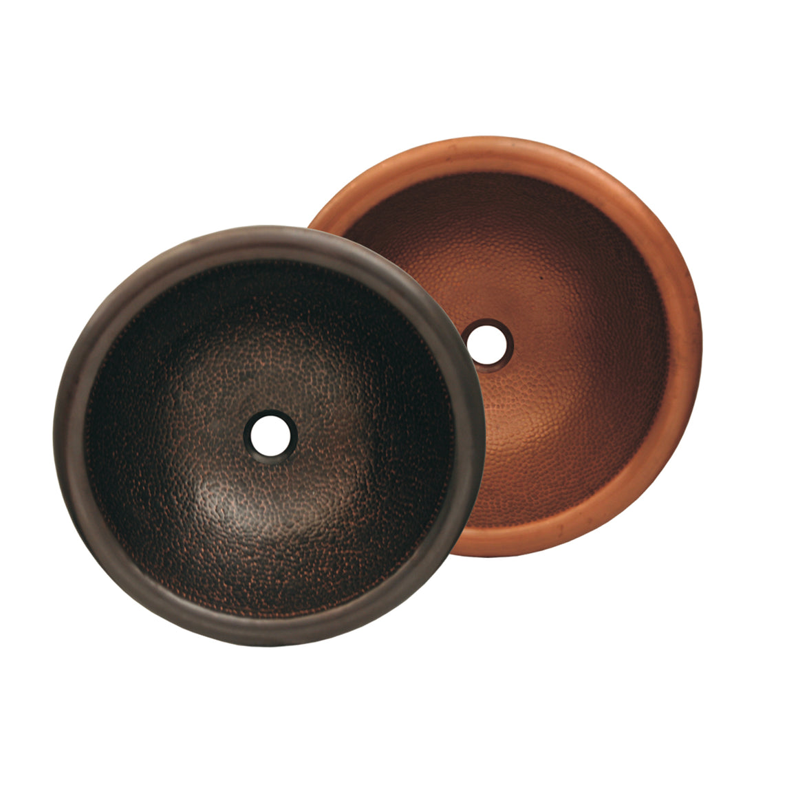 "Copperhaus round drop-in/undermount basin with hammered texture &  1 1/2"" center drain"