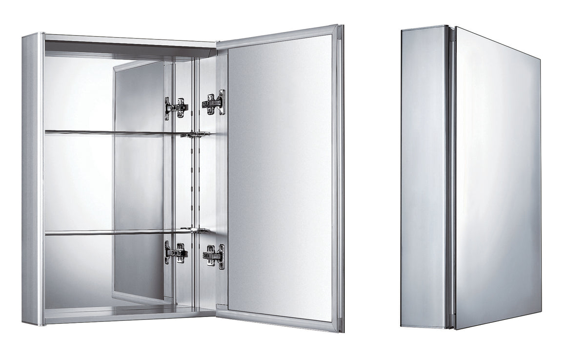 Vertical wall mount medicine cabinet with mirrored door, two adjustable glass shelves, and mirror faced back wall.