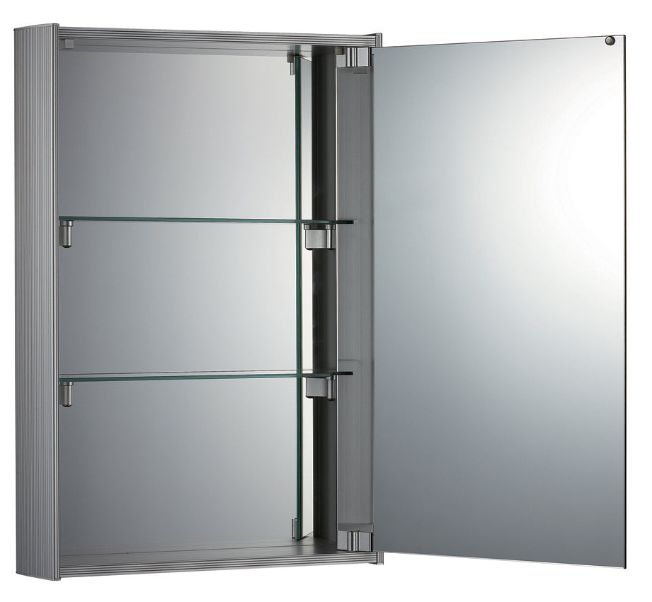 Vertical double faced mirrored door medicine cabinet with two adjustable glass shelves and mirror faced back wall.