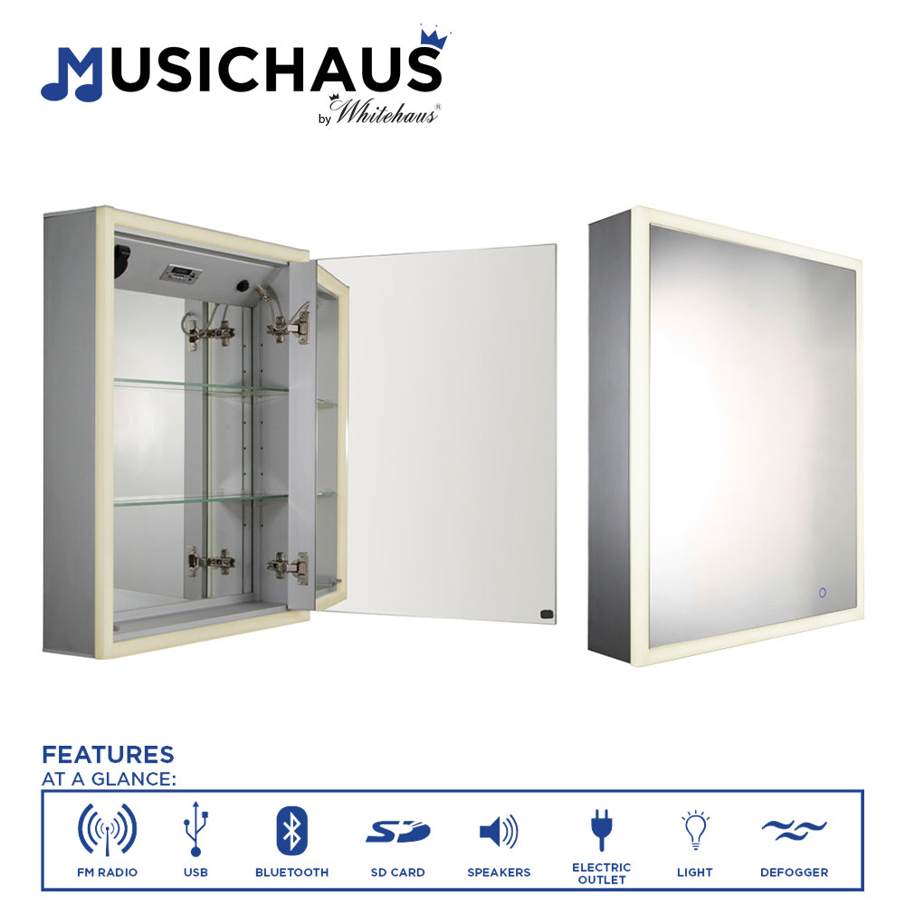 Musichaus Single door cabinet with USB, SD card, Bluetooth, FM radio, speakers, Defogger, & Dimmer