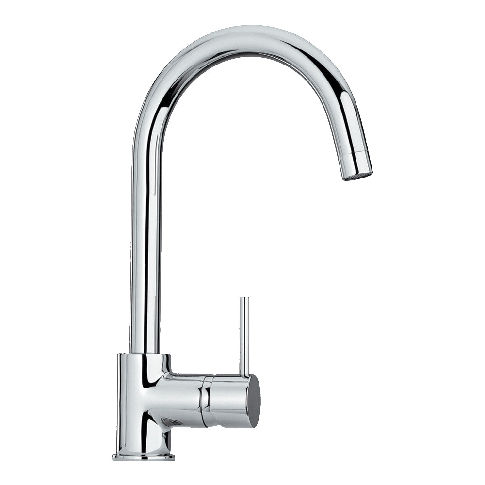 Luxe single hole/single lever faucet with gooseneck swivel spout