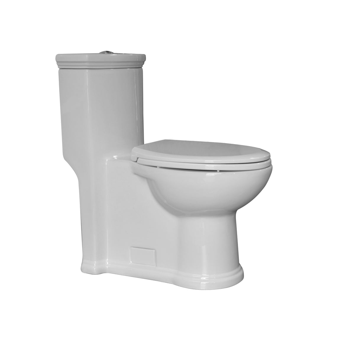 Eco-friendly one piece traditional toilet with a siphonic action dual flush system an elongated bowl