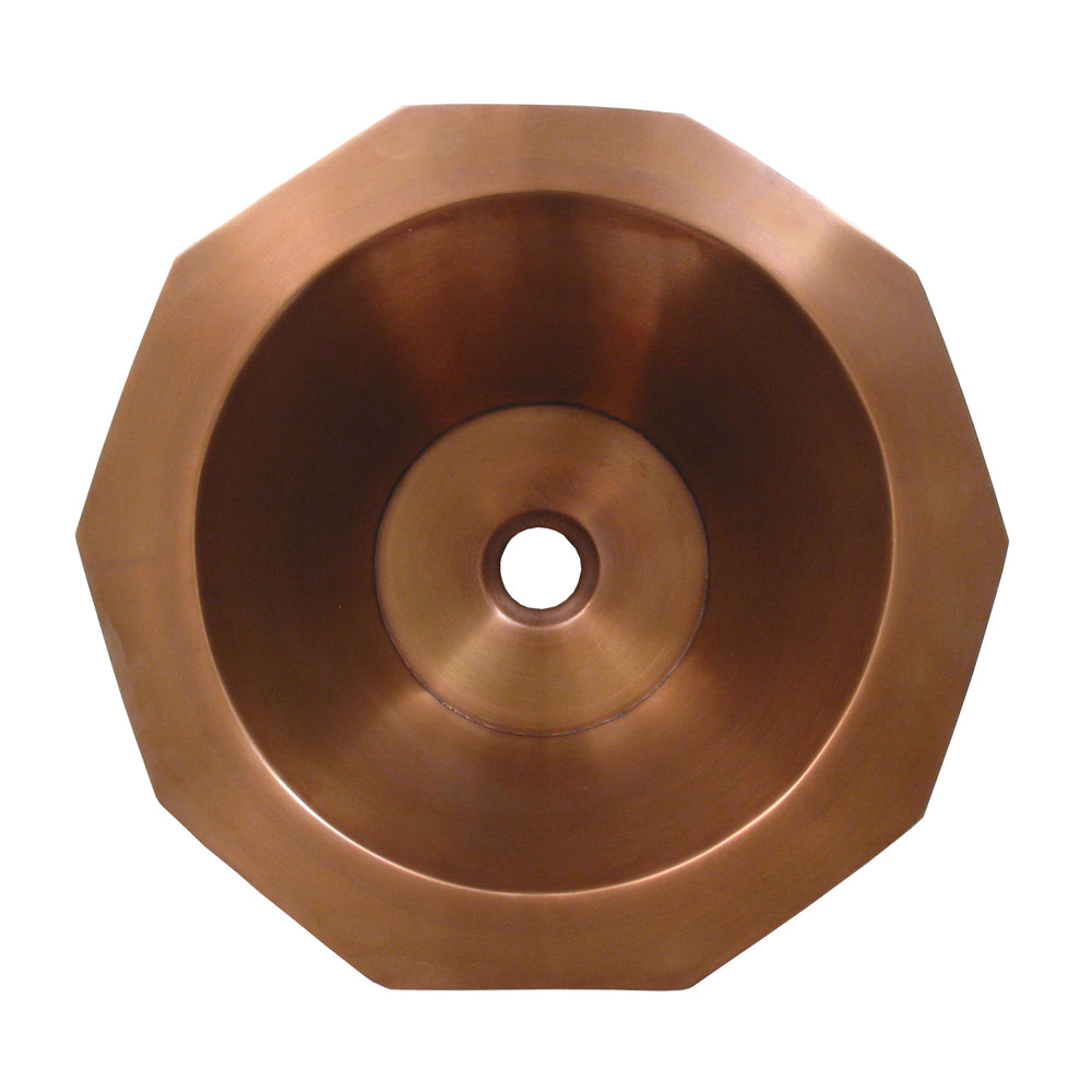 "Copperhaus decagon (10 sides) shaped above mount basin with smooth texture&  1 1/2"" center drain"