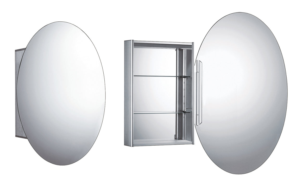 Oval double faced mirrored door medicine cabinet with two adjustable glass shelves and mirror faced back wall.