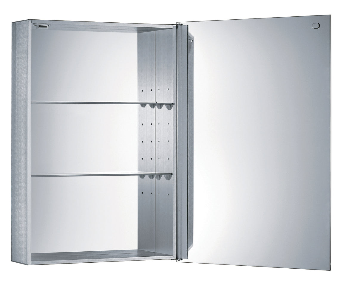 Single two sided mirrored door medicine cabinet with two adjustable glass shelves and mirror faced back wall.