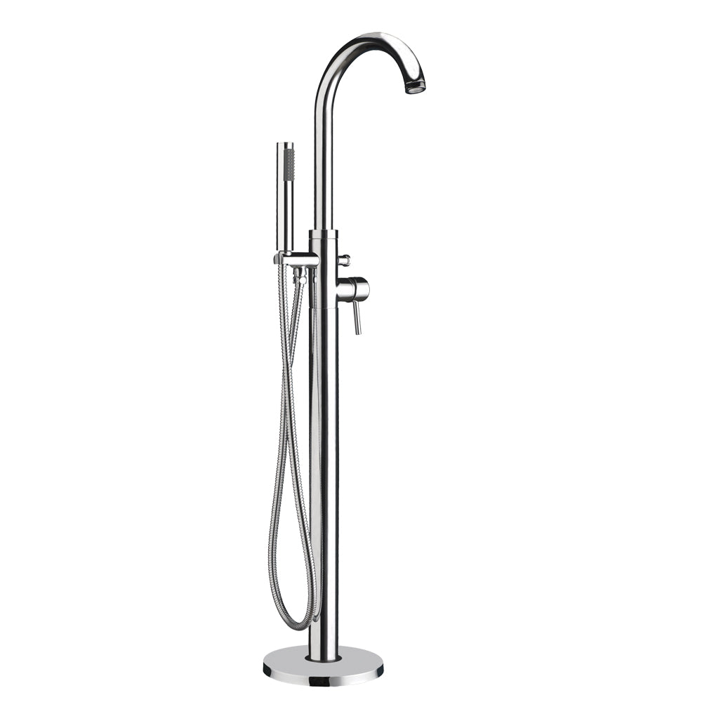 Freestanding single lever tub filler with integrated diverter valve and hand held shower
