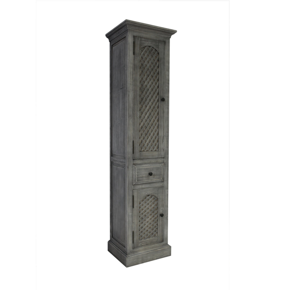 "79"" RUSTIC SOLID FIR SIDE CABINET IN GREY DRIFTWOOD"