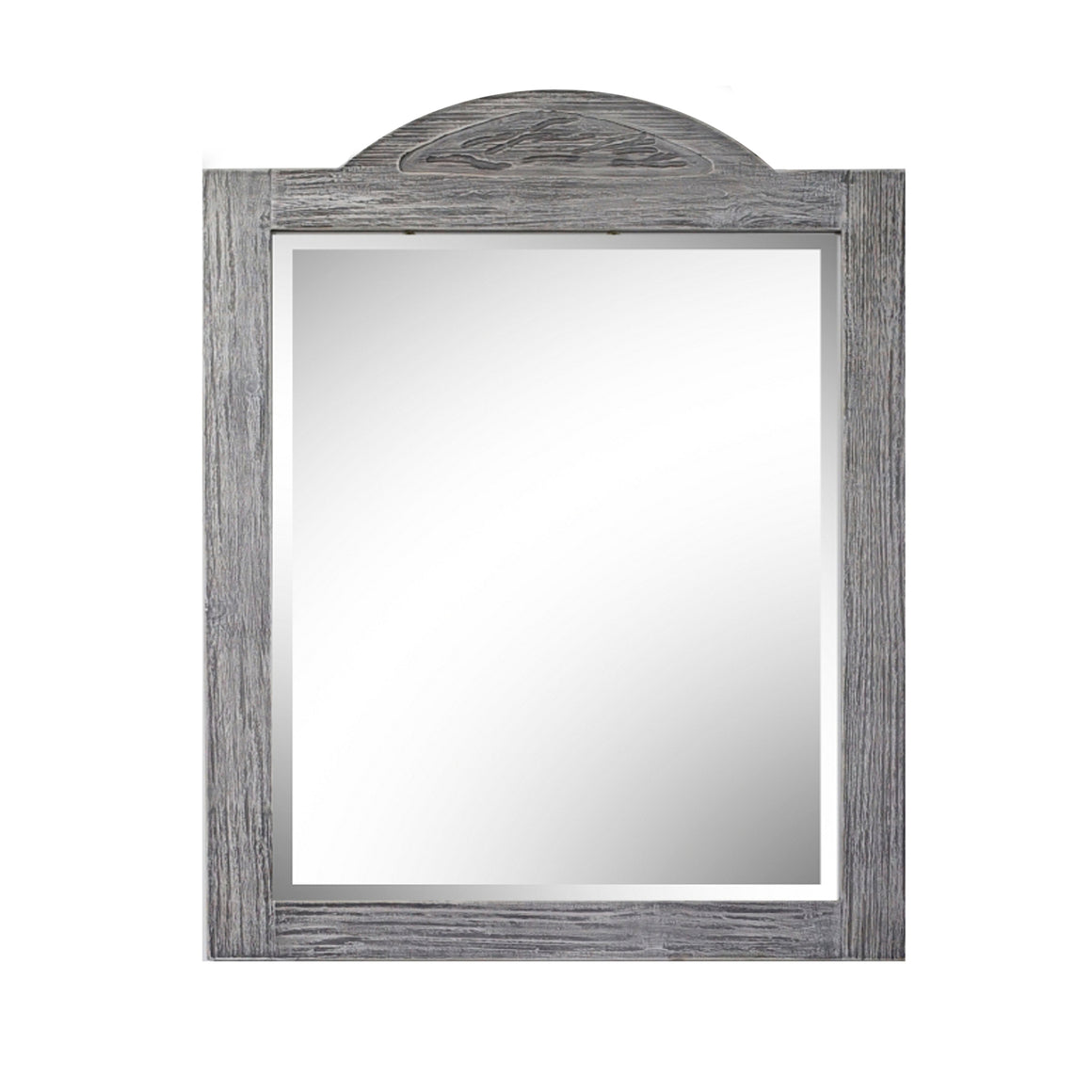 "26"" RUSTIC SOLID FIR MIRROR IN GREY DRIFTWOOD (26"" H x 36"" H)"